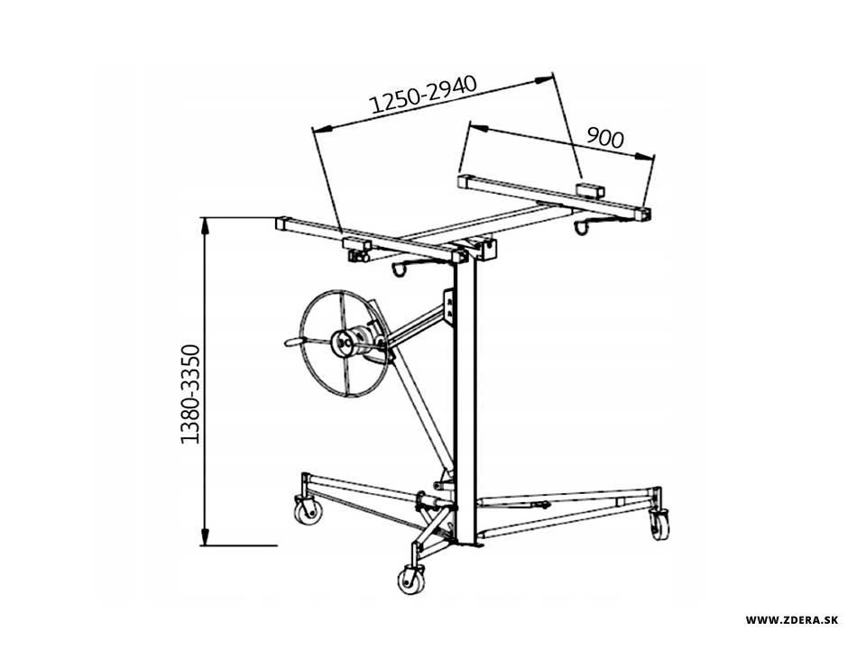 Prepravný vozík Zdvihák na sadrokartón 3.50m TECWELD 5