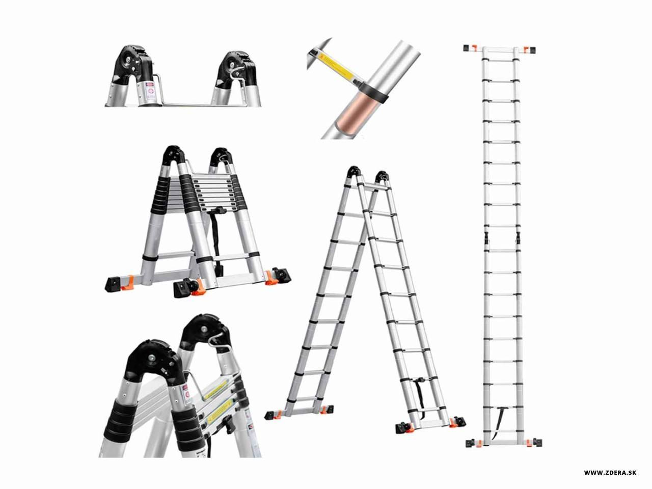 Kĺbový teleskopický rebrík 6,20 m - spevnený