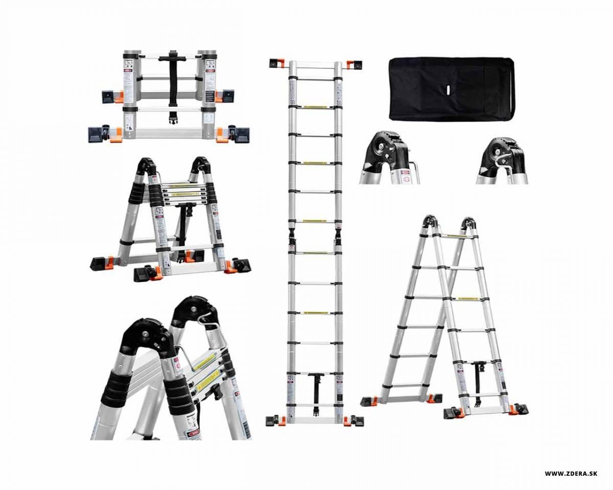 Kĺbový teleskopický rebrík 3,80 m - spevnený